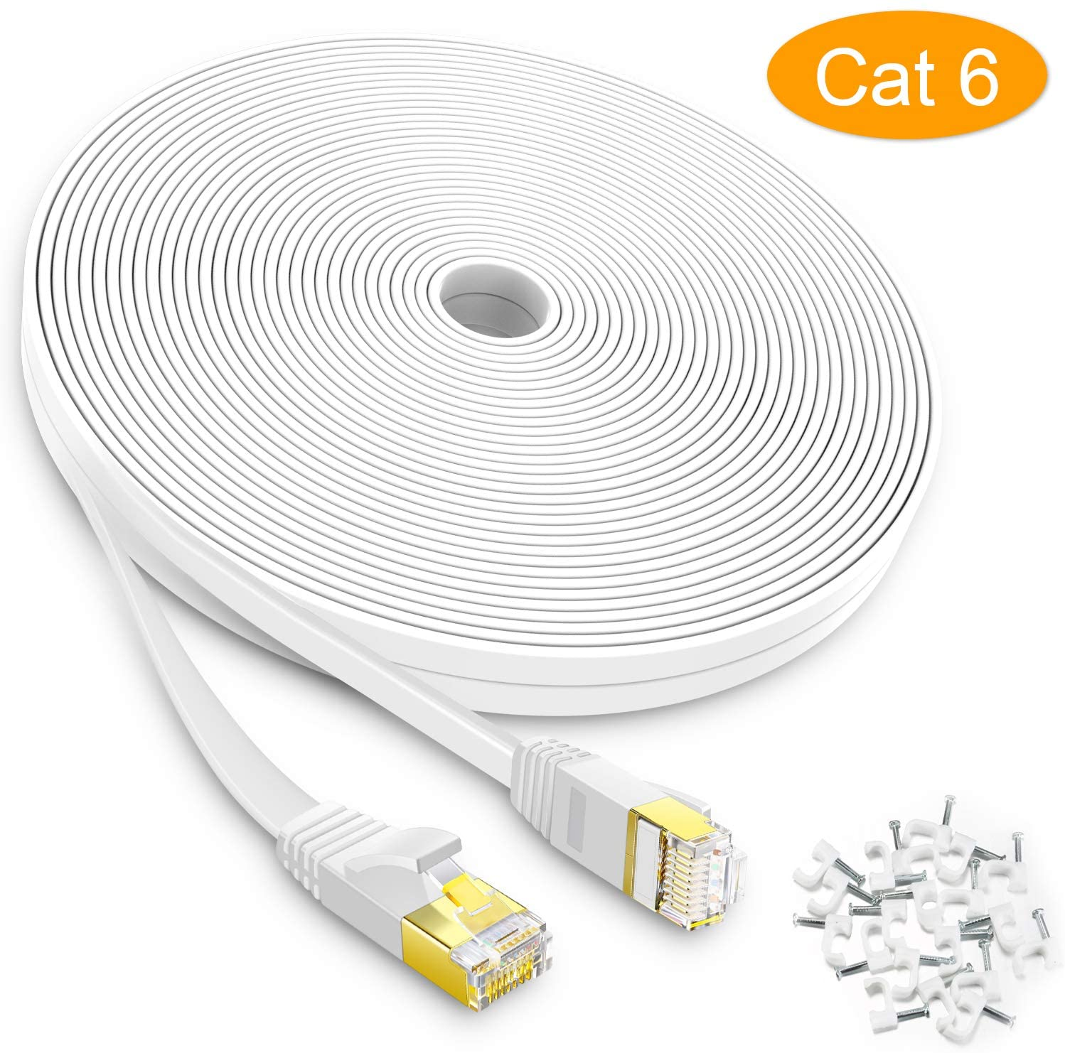 AOFORZ - Ethernet Cable Cat6 50ft - White Flat High Speed Internet Network Cable with Cable Clips - Computer Cable with Snagless Rj45 Connectors - 50 feet White (15 Meters)