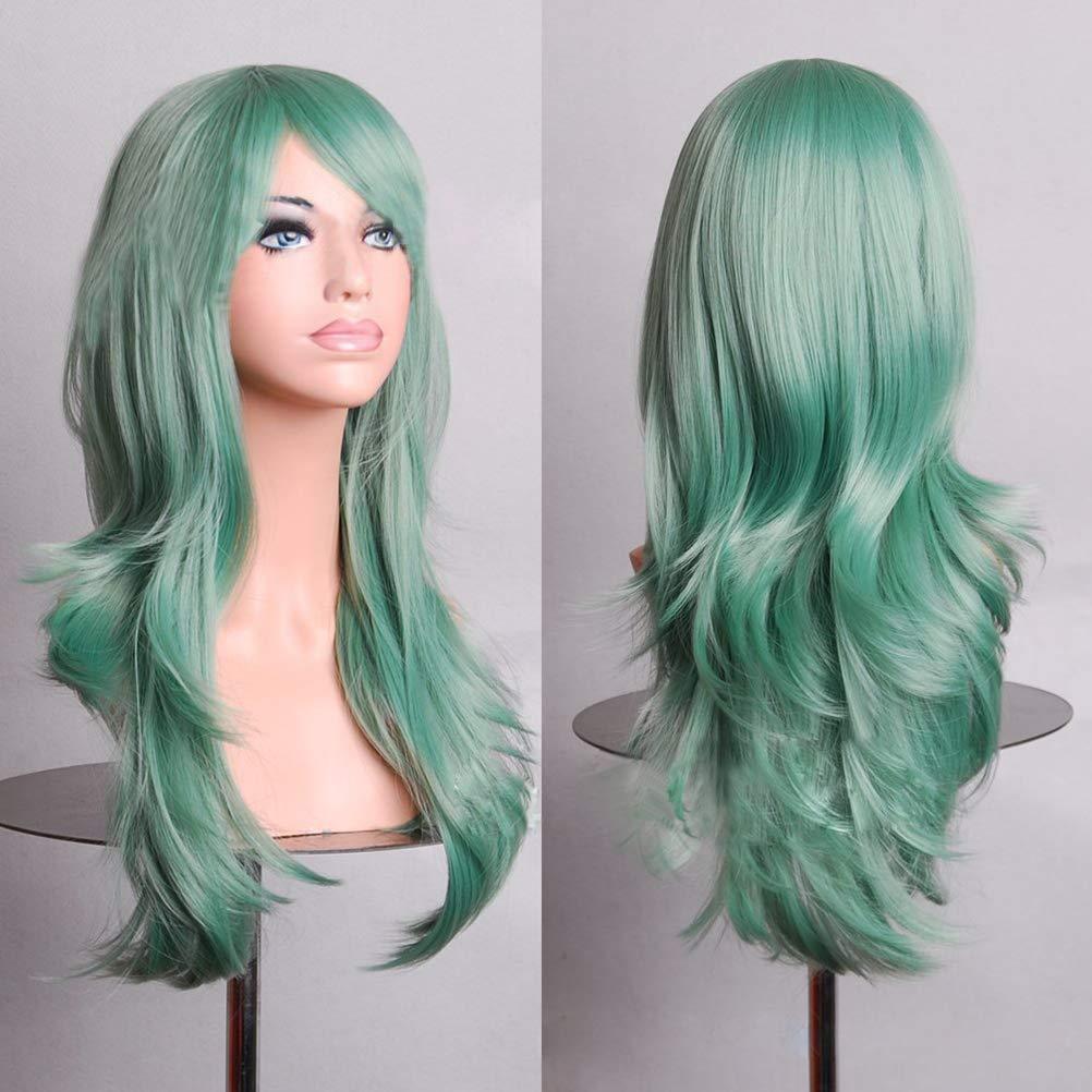 BERON 24'' Long Big Wavy Hair Heat Resistant Cosplay Wig Hair Extensions Mint Green