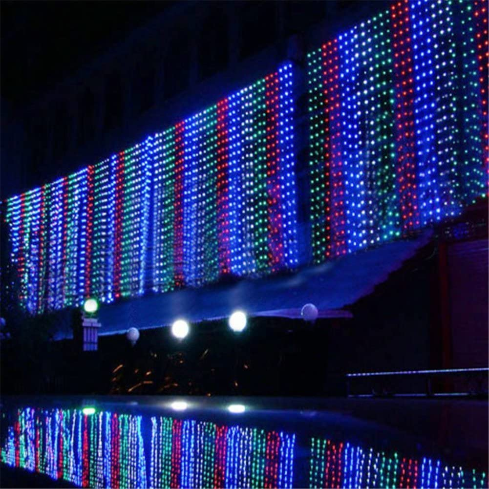 Surprise Zone 8 Modes 768 LEDs 6M(W) X 4M(H) Curtain Lights String Fairy Light Window Curtain Icicle Lights for Christmas Wedding Party Bar Hotel Decorations Colorful