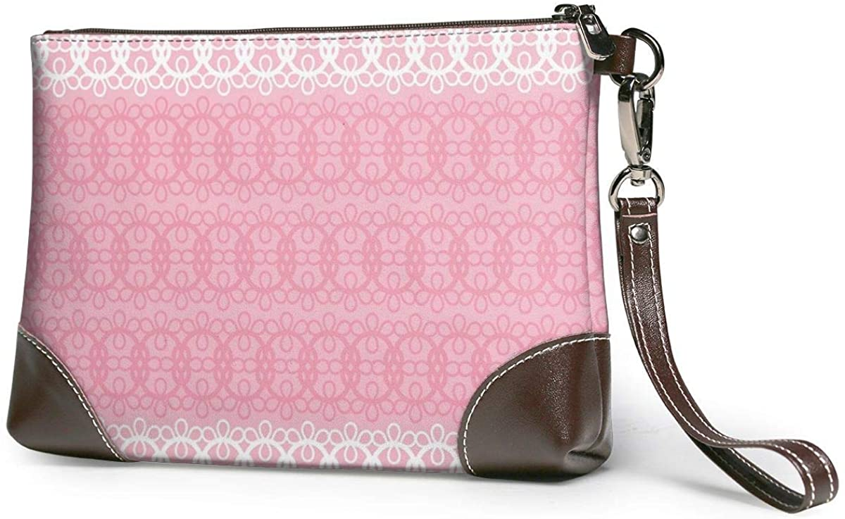 Pink Ribbon Leather Clutch Fashion Handbag Phone Wristlet Purse