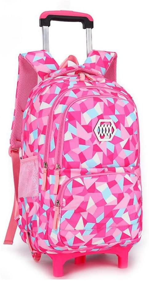 YUB New School Bag Girls' Backpack Wheeled Schoolbag Rolling Backpacks Waterproof Rose Red with Two Wheels
