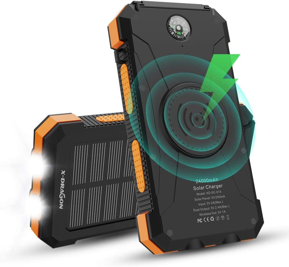 Solar Power Bank, X-DRAGON 24000mAh Qi Wireless Portable Charger External Battery Pack with Dual Input(USB C & Micro), Dual Flashlight, Compass for iPhone, iPad, Cellphones, Outdoors, Camping