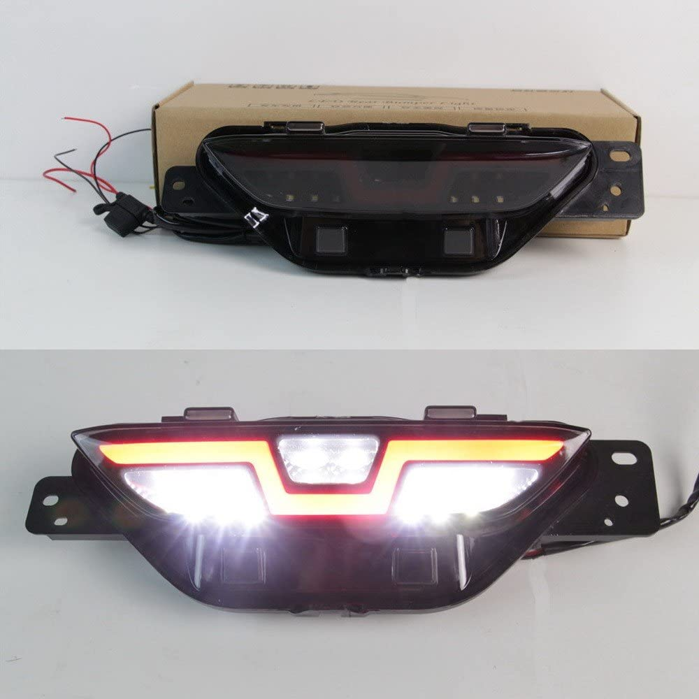 July King 1Pc White LED Reversing Light + Red Light Guide LED Brake Lights + Red Night Running Light for Toyota C-HR 2017 2018 2019