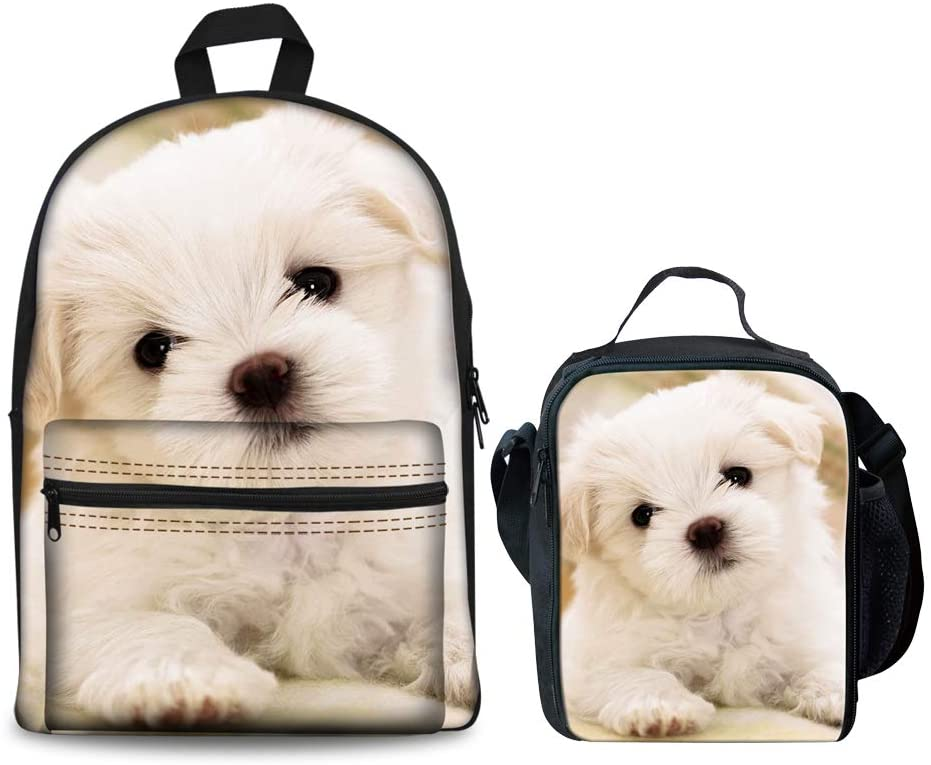 HUGS IDEA Cute Puppy Printed Children School Backpack Set Girls Bookbags and Lunchbox Bichon Frise