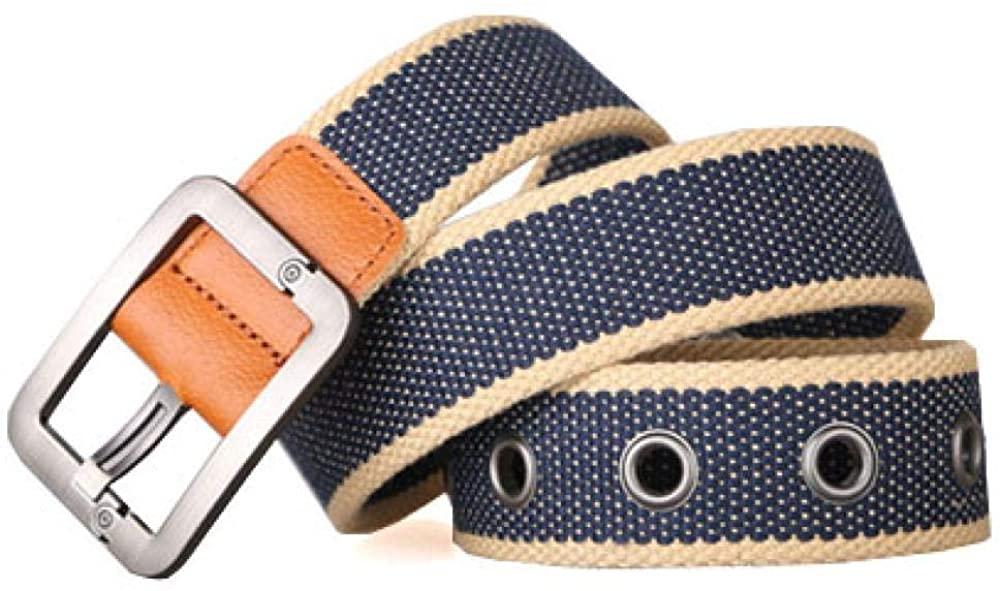Men's cloth belt jeans needle buckle belt outdoors Tibetan blue stripes 110 cm
