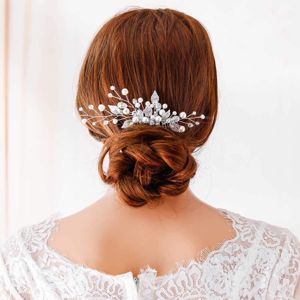 Jovono Bride Wedding Hair Comb Bridal Pearl Head Accessories Leaf Headpieces with Rhinestone for Women and Girls (Silver)