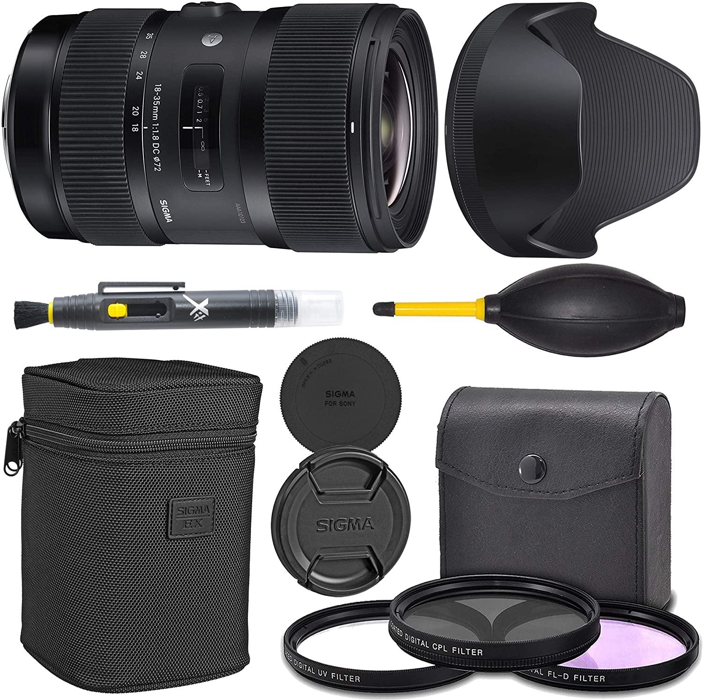 Sigma 18-35mm f/1.8 DC HSM Art Lens for Canon EF (210-101) + AOM Pro Starter Bundle Kit - International Version