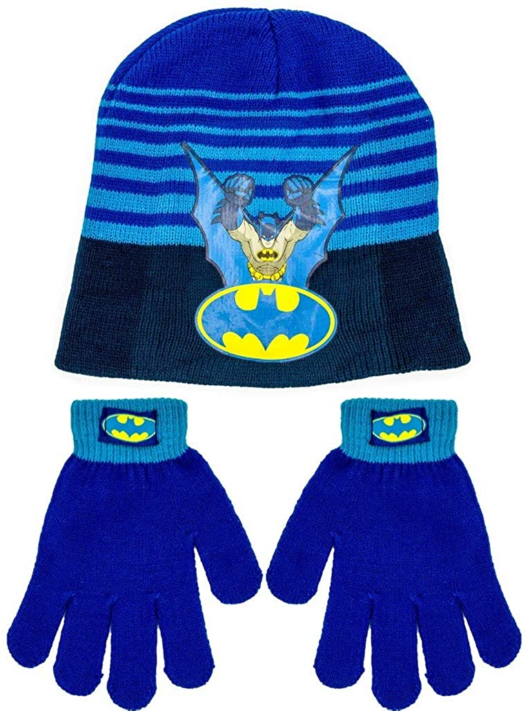 Batman Winter Hat and Gloves Set for Boys, One Size Fits Most