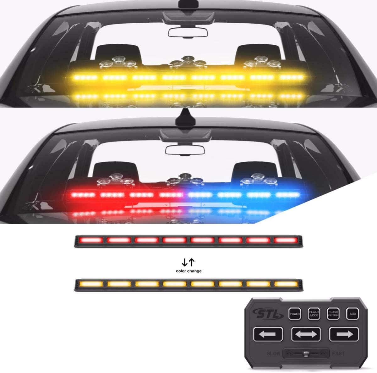 SpeedTech Lights Multicolor Striker TIR 8 Head LED Traffic Advisor Windshield Mount Strobe Light Bar for Emergency Vehicles/Hazard Warning Directional Flashing w/Control Box - Red/Red - Amber