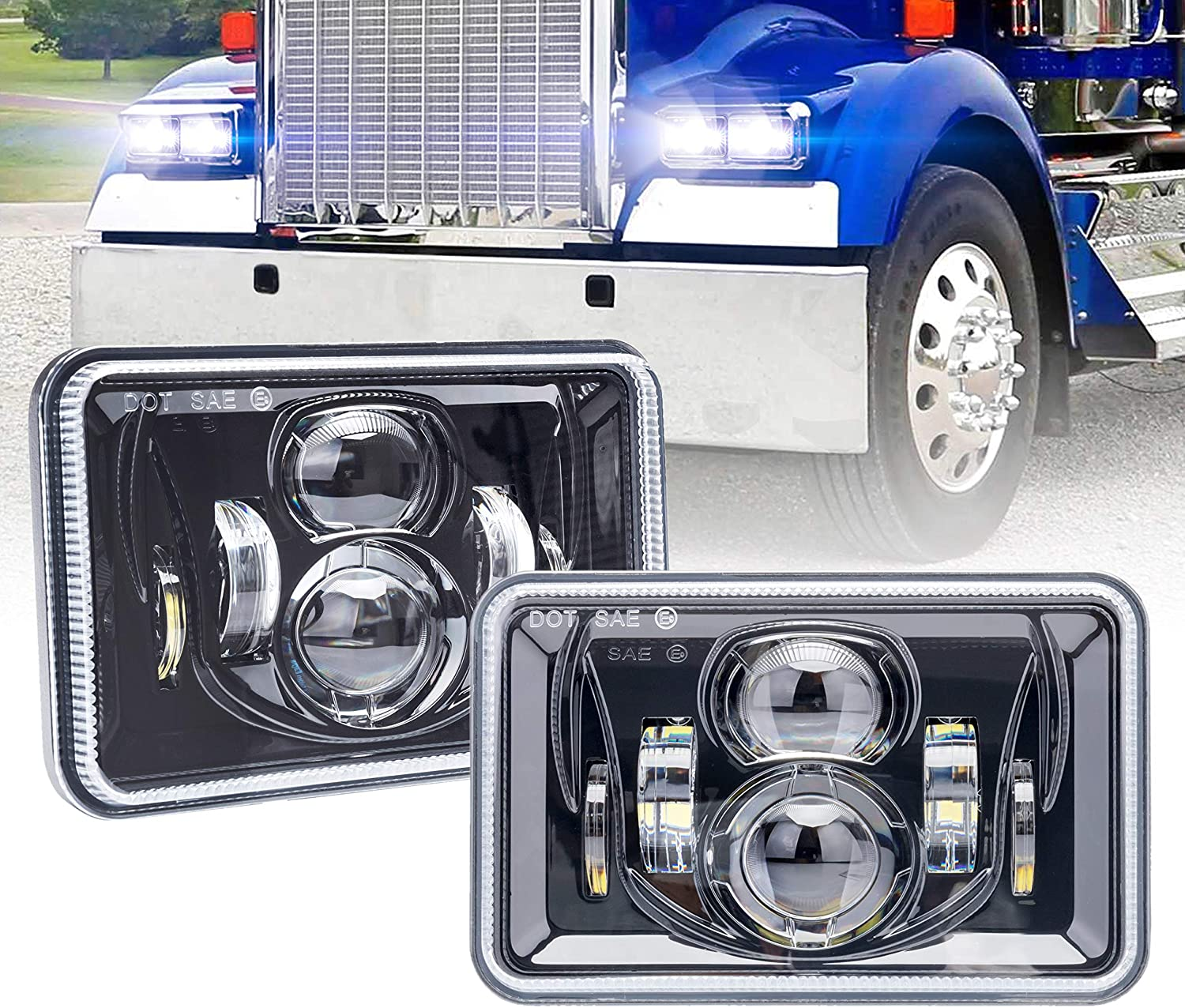 Rectangular 4X6 LED Headlights with High Low Beam H4651 H4652 H4656 H4666 H6545 Headlamp Replacement Projector Lens for Freightliner Peterbilt Kenworth Ford Probe Oldsmobile Cutlass Trucks 60W