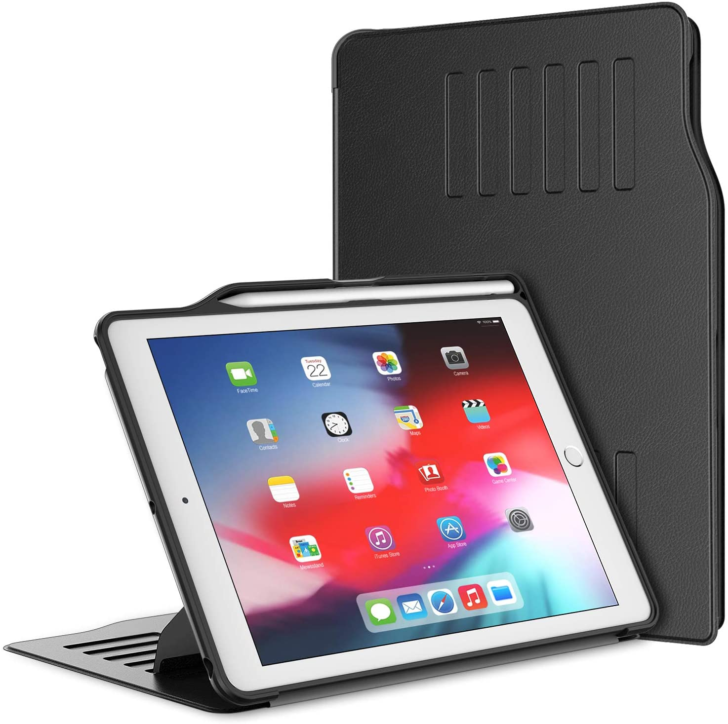JETech Case for Apple iPad 9.7-Inch (2018/2017 Model, 6th/5th Generation) with Apple Pencil Holder, Highly Protective, Shock Absorption, Multiple Angles, Black