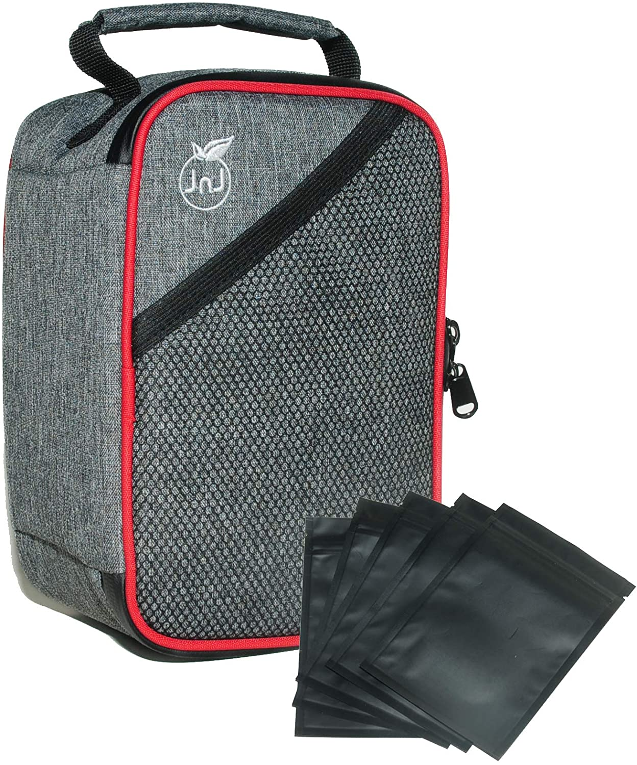 Smell Proof Bag with Combination Lock Built-in and Extra Storage. Odor Resistant and Waterproof Container for Herbs and Smelly Products + 5 Resealable 4x6 Mylar Bags - by JNJ Solutions 2020 New