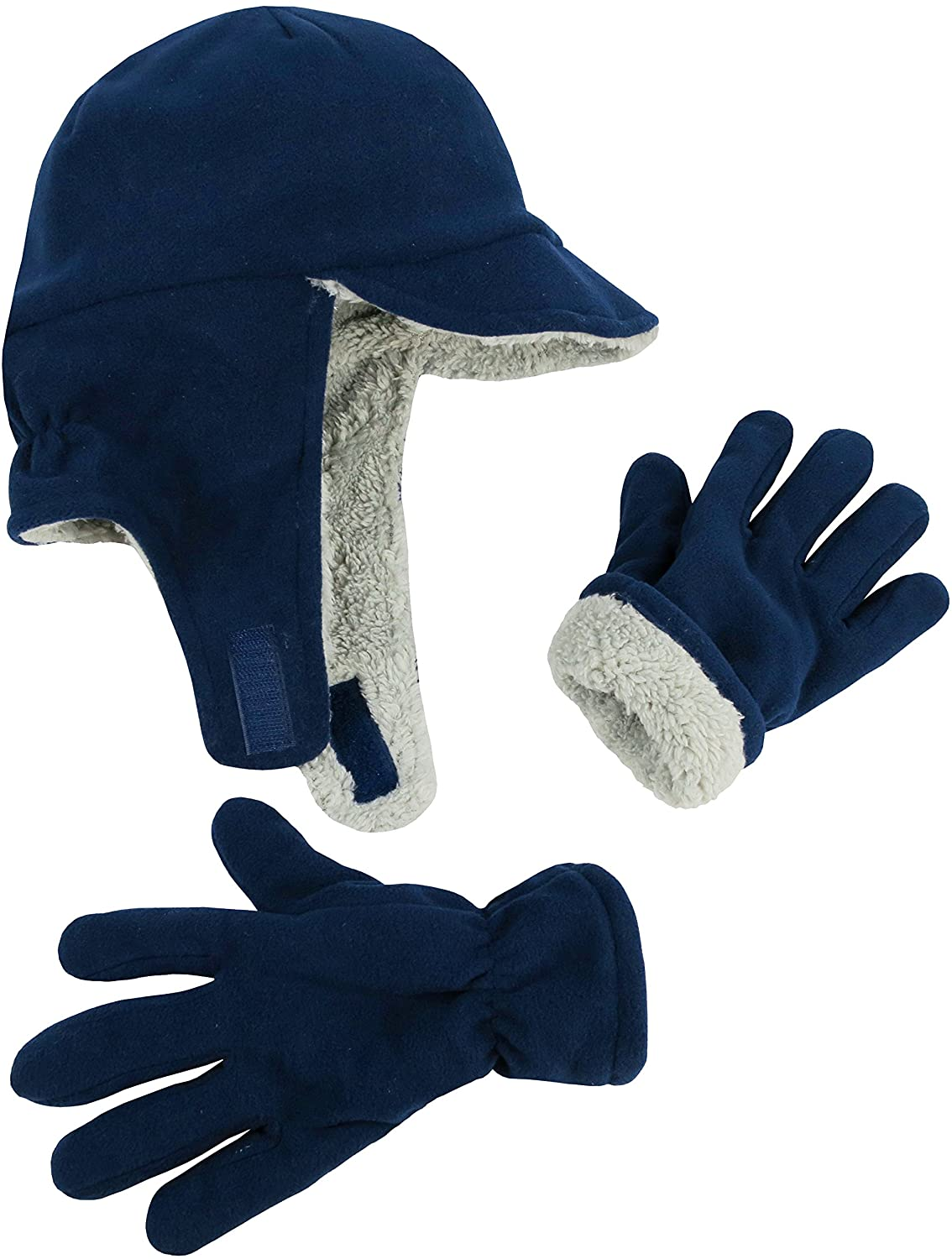 N'Ice Caps Boys Girls Warm Double Layered Lined Hat and Gloves Winter Snow Set