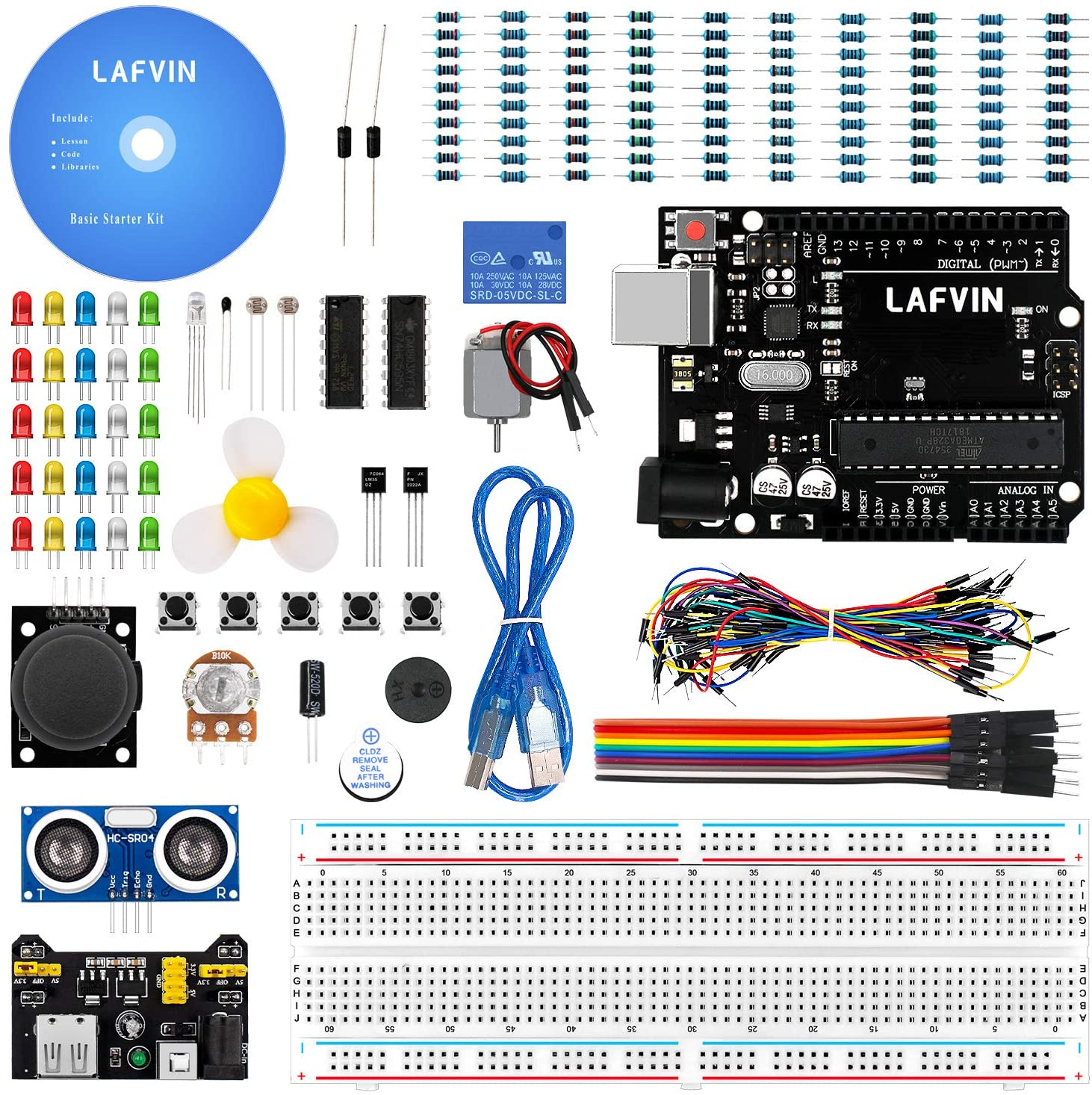 LAFVIN Basic Starter Kit with R3 Controller Board,LED, Resistor,Jumper Wires and Power Supply Compatible with Arduino IDE