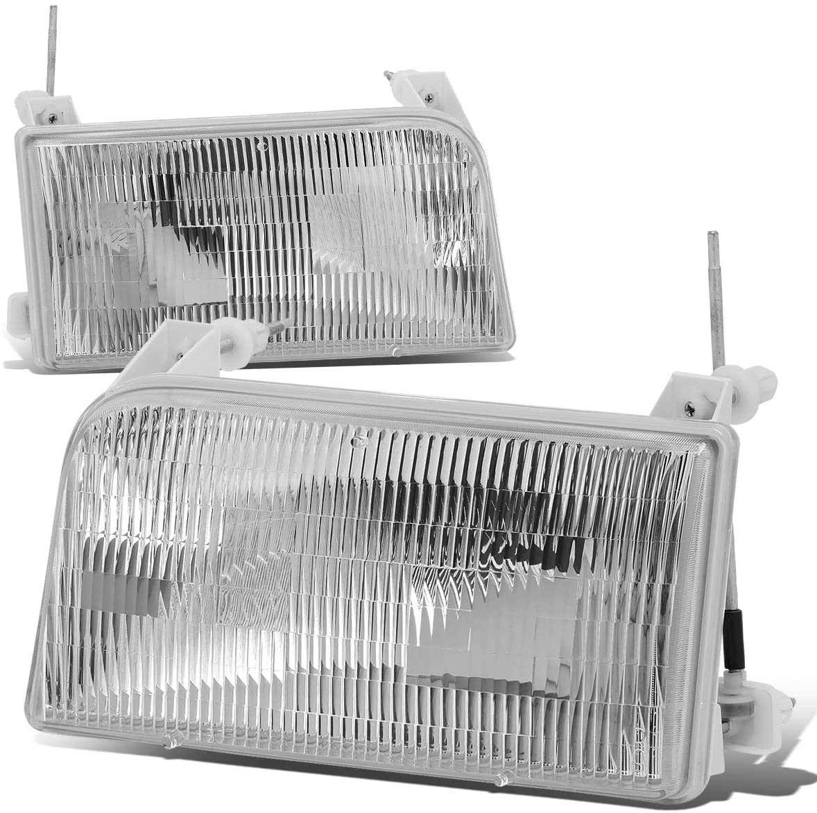 Pair of Chrome Housing Crystal Lens Headlight Assembly Lamps Replacement for Ford F-150 F-250 F-350 Bronco 92-98