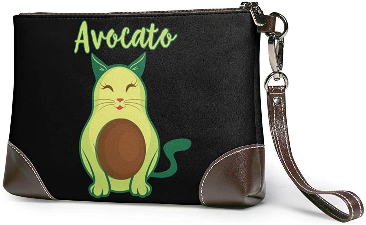 Avocado Cat Leather Clutch Fashion Handbag Phone Wristlet Purse
