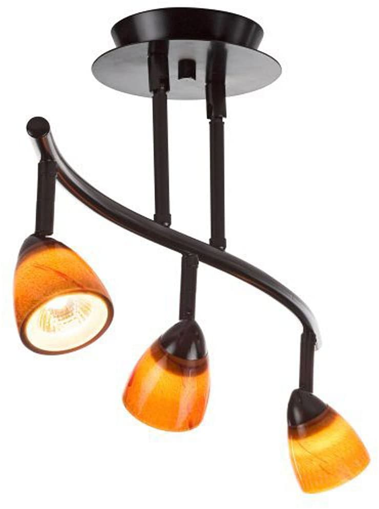 Cal Lighting SL-954-3-BK/WSW Track Lighting with White Glass Shades, Black Finish