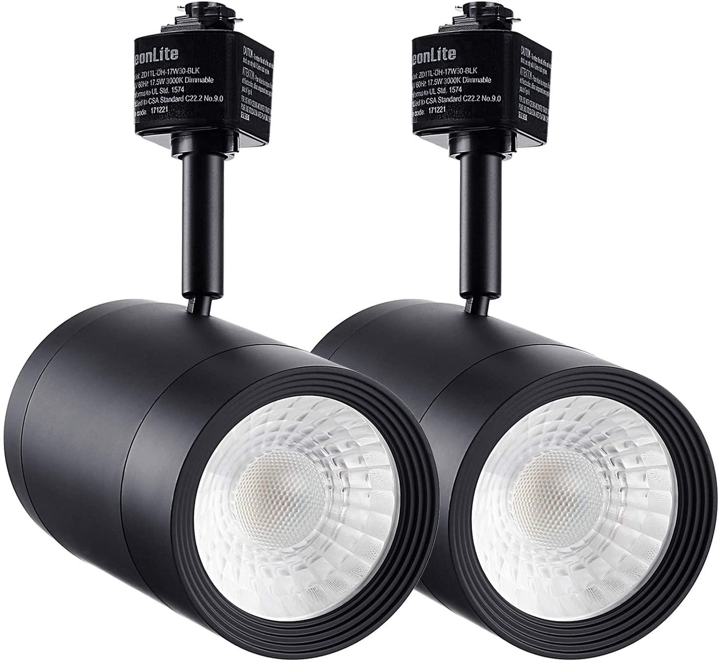 LEONLITE LED Track Light Heads, Dimmable 17.5W(85W Eqv.) Spotlight, 38° Beam Angel, CRI90+, 3000K Warm White, ETL & Energy Star Listed Accent Lighting for Art, Black, Pack of 2
