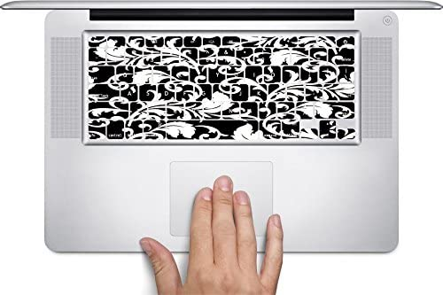 Black & White Abstract Floral Art Macbook Keyboard Decals (Fits 12 inch) by MWCustoms