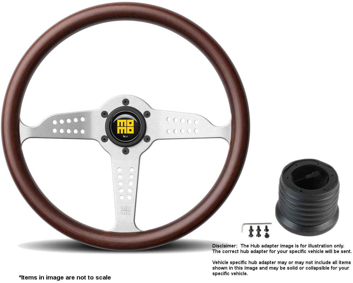 MOMO Grand Prix 350mm (13.78 Inches) Wood Steering Wheel w/Brushed Aluminum Spokes and Hub Adapter for Nissan Multi-fit Part # GRA35WD0B + 3508