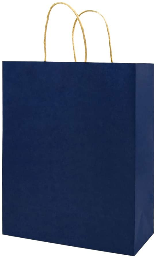 Medium Blue Gift Paper Bags with Handles Bulk, Bagmad Kraft Bags 8x4.75x10 inch 100 Pcs Pack, Craft Grocery Shopping Retail Party Wedding Bags Sacks (Navy Blue, 100pcs)