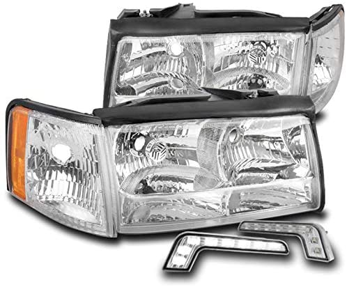 ZMAUTOPARTS Replacement Headlights Headlamps Chrome with 6.25