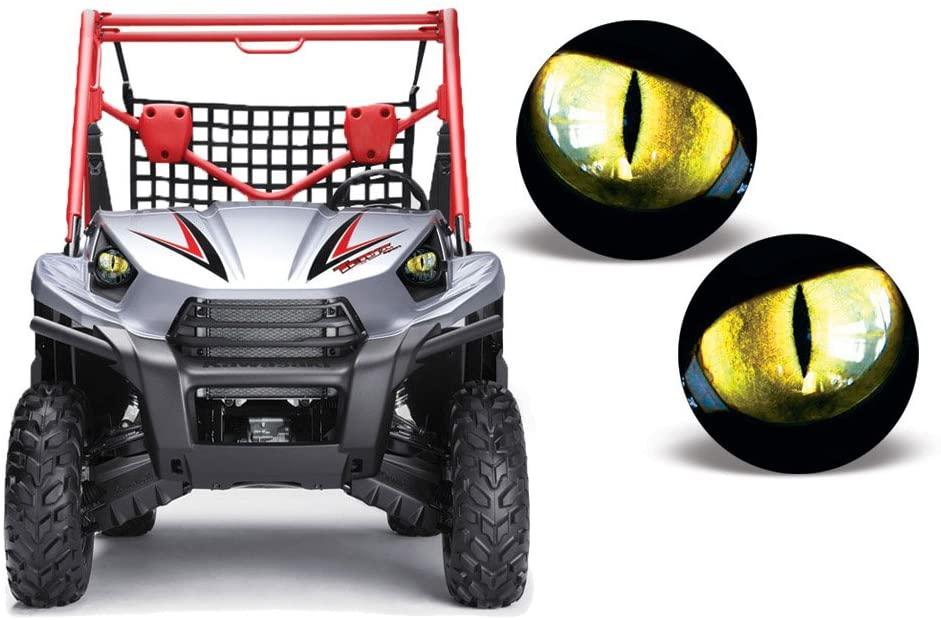 AMR Racing UTV Headlight Eye Graphics Decal Cover Compatible with Kawasaki Teryx 10-14 - Eclipse Yellow