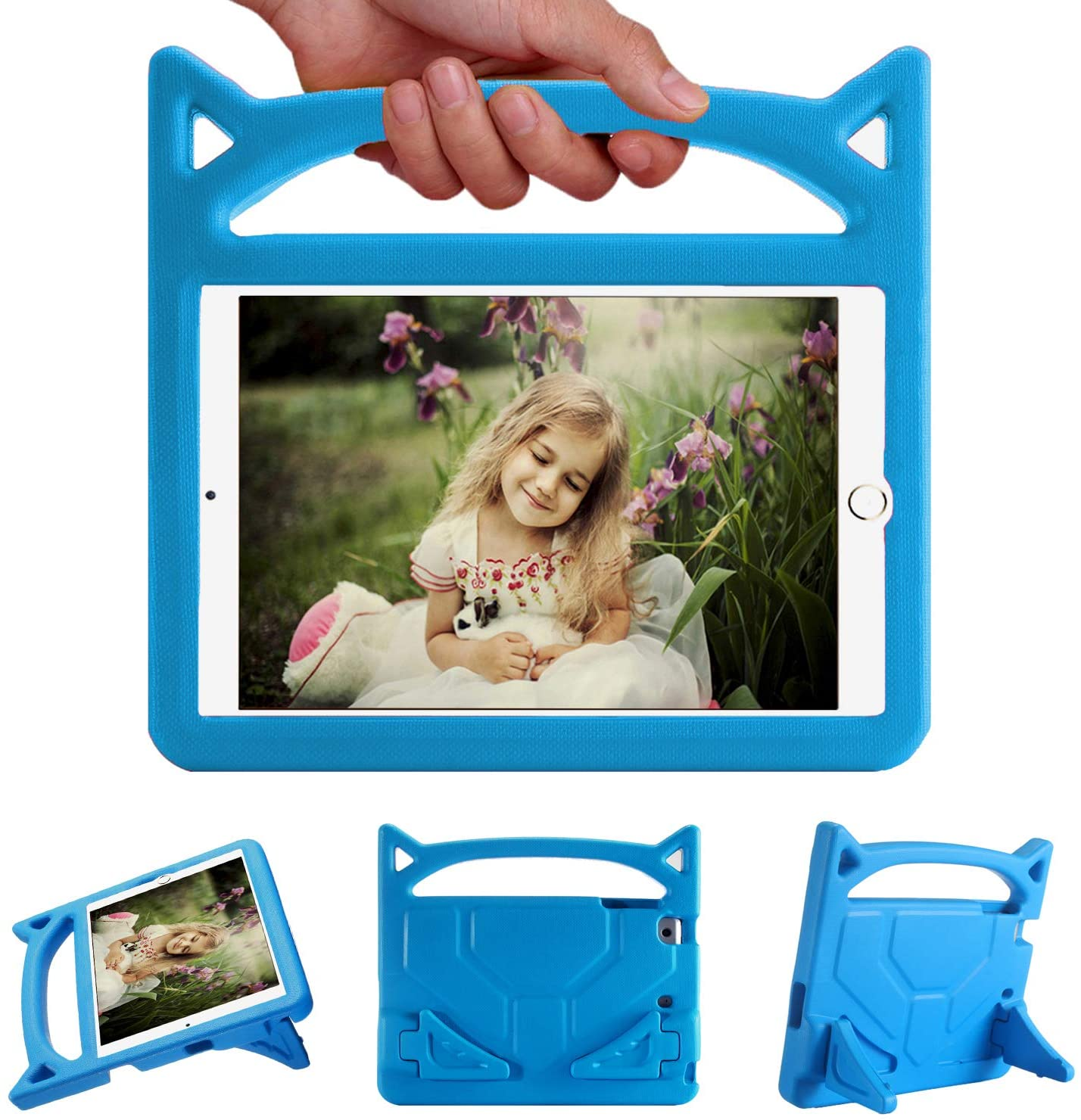 Riaour Kids Case for iPad Mini 5 4 3 2 1 - Light Weight Shock Proof Handle Friendly Convertible Stand Kids Case for iPad Mini 5 (2019), Mini 4, iPad Mini 3rd Generation, Mini 2 Tablet(New Blue)