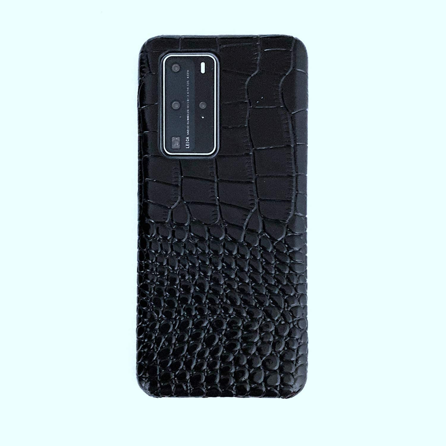 FHZXHY Huawei P40 Pro Phone Case Crocodile Pattern Leather Back Case Cover Protector Case for Huawei p40 pro 6.58 inch 5g 2020-Black