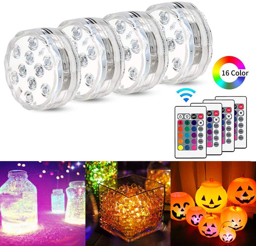 Submersible LED Lights, 16 Color Changing IP68 Waterproof RGB LED with IR Remote Controlled 10 LED Underwater Lighting for Pond, Vase Base, Bath Tub, Fish Tank, Valentine's Day Decoration (4 Pack)