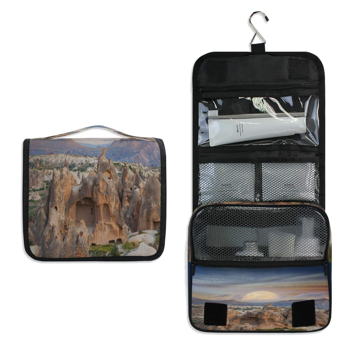 Hanging Toiletry Bag, Beautiful Landscape Vector Waterproof Quilted Wash Gargle Bag Portable Travel Bathroom Shower Bags Deluxe Large Makeup Brush Case Capacity Pouch for Men and Woman