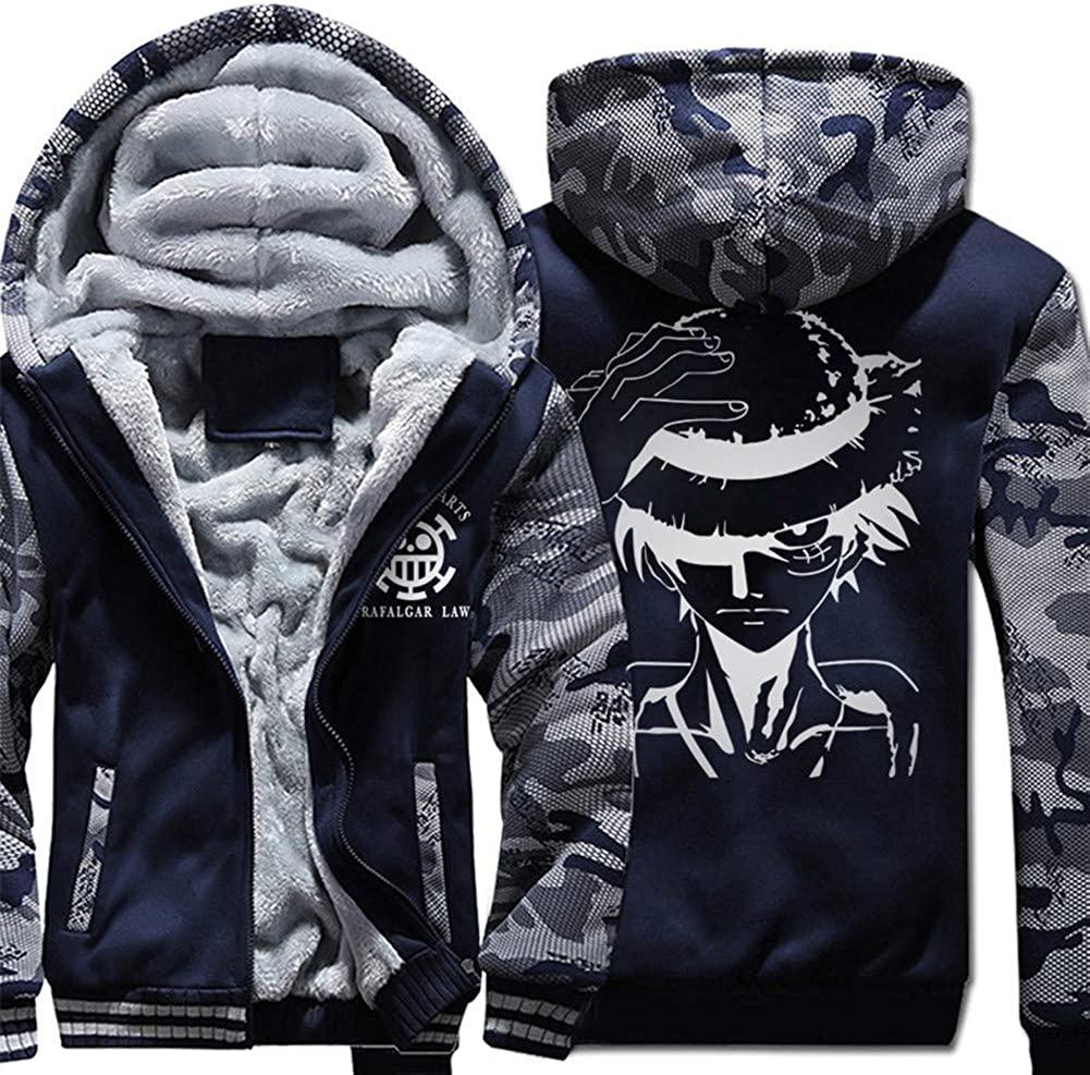 Gumstyle One Piece Anime Thicken Hoodie Sweatshirt Unisex Camo Outwear Zip Jacket