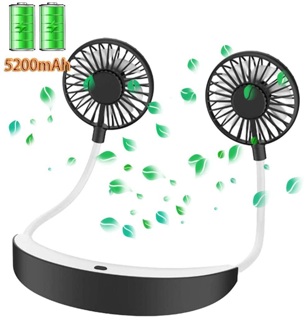 Personal Fan Necklace 5200mah, Portable Fan, Hand Free Mini Fan, USB Rechargeable, 4 Speeds 360 Degree Adjustment Head Cool Wearable Fan for Travel/Office/Home Outdoor Camping (Black&Grey)