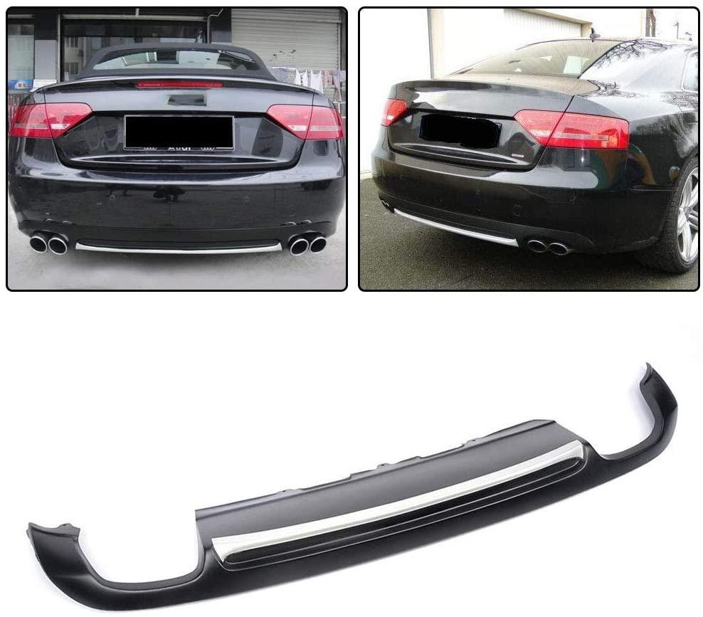 LY-QCYP Car Rear Diffuser,fits for Audi A5 Coupe 2Dr Non-Sline Bumper 2008-2011 PU Black Rear Bumper Lip Diffuser Spoiler