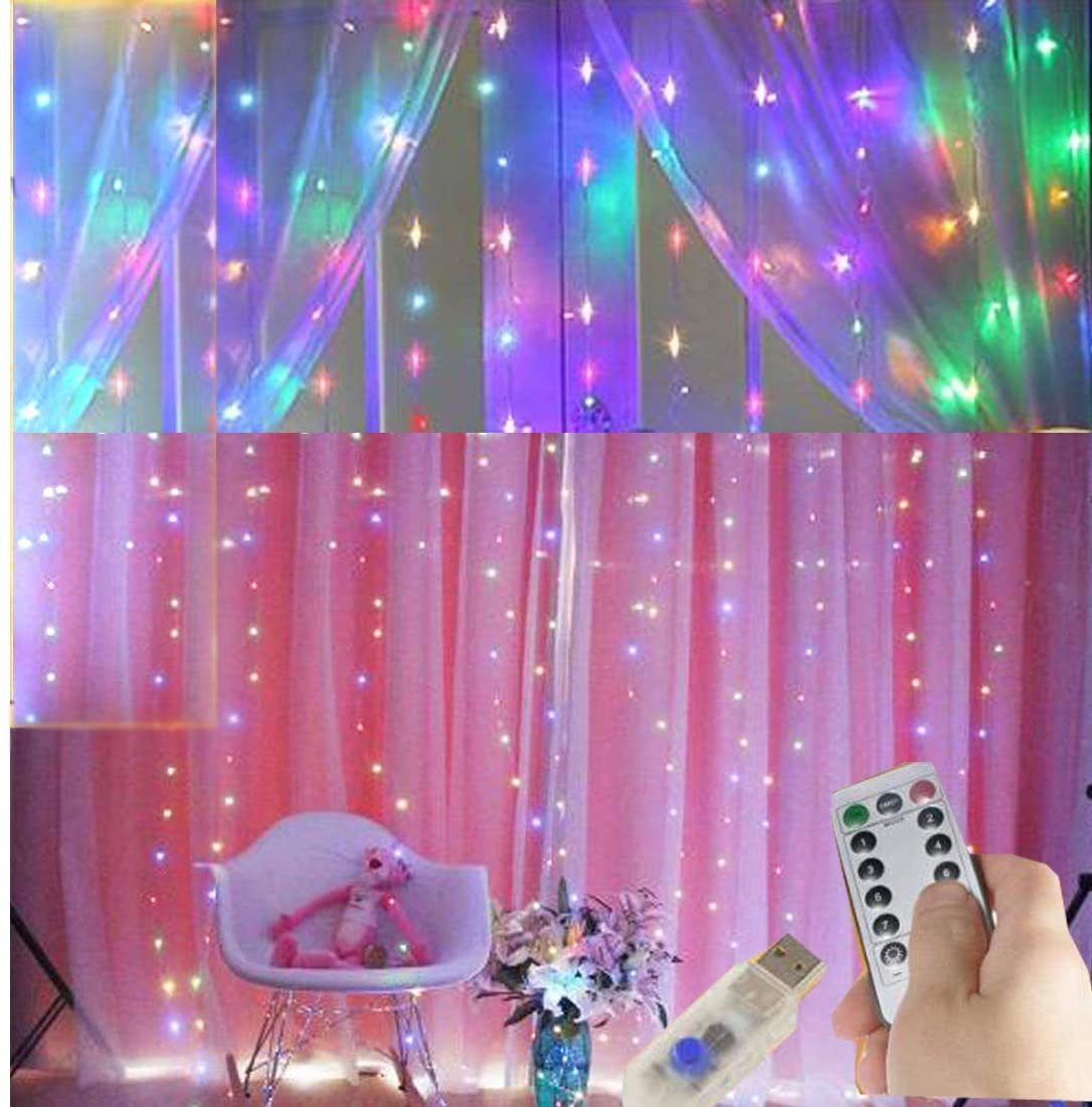 Curtain String Lights Copper Wire Light 8 Modes Multicolor Window Light 9.8x9.8ft 300LED USB Charging with Remote Control for Indoor and Outdoor DIY Party Garden Family Holiday Decoration (color)