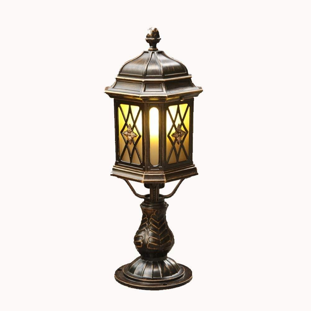 IBalody Height 50cm Traditional Victoria Style Outdoor Glass Column Lamp Retro IP42 Waterproof Die-cast Aluminum Post Light E27 Garden Doorway Courtyard Landscape Decorative Pillar Light