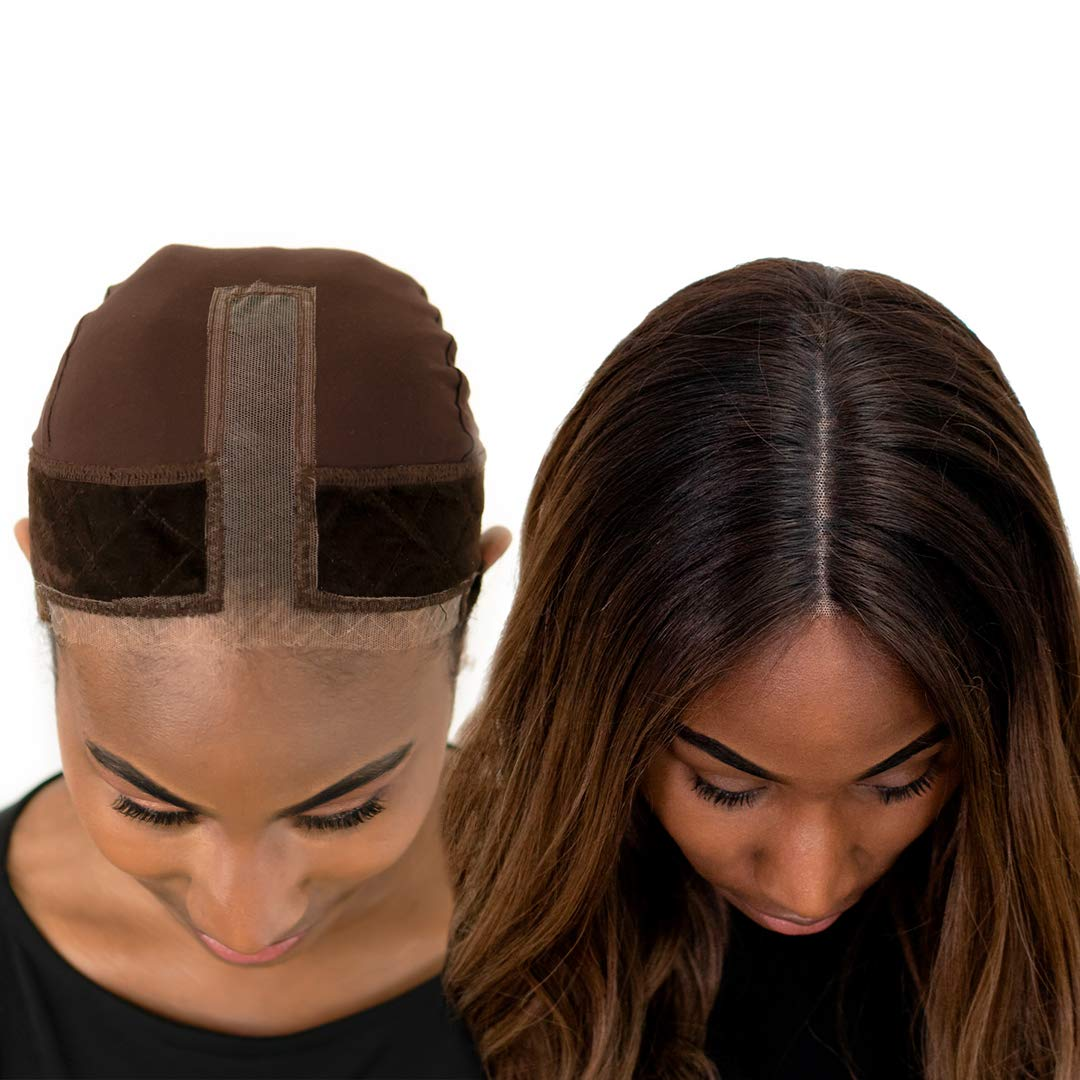 Milano Collection Lace GripCap 2-in-1 Lace Wig Grip Band Plus Wig Cap for Lace Wigs & Frontals with Reinforced Swiss Lace by HAIRLINE and PART For Seamless Transition (Patent Pending)- Chocolate Brown