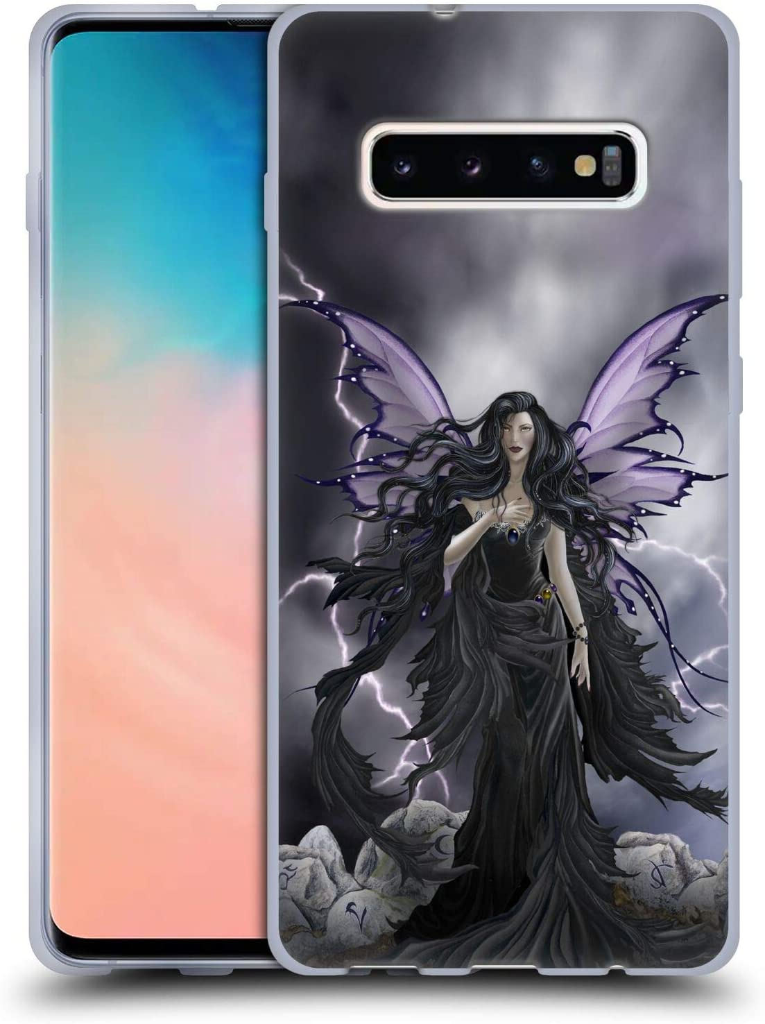 Head Case Designs Officially Licensed Nene Thomas Storm Fairy with Lightning Gothic Soft Gel Case Compatible with Samsung Galaxy S10+ / S10 Plus