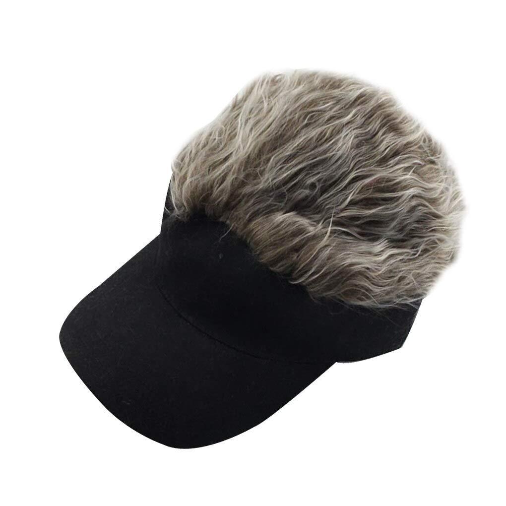 Unisex Men Women Beanie Fake Spiked Flair Hair, Short Hair Cap Adjustable Wig Baseball Hat (Coffee)