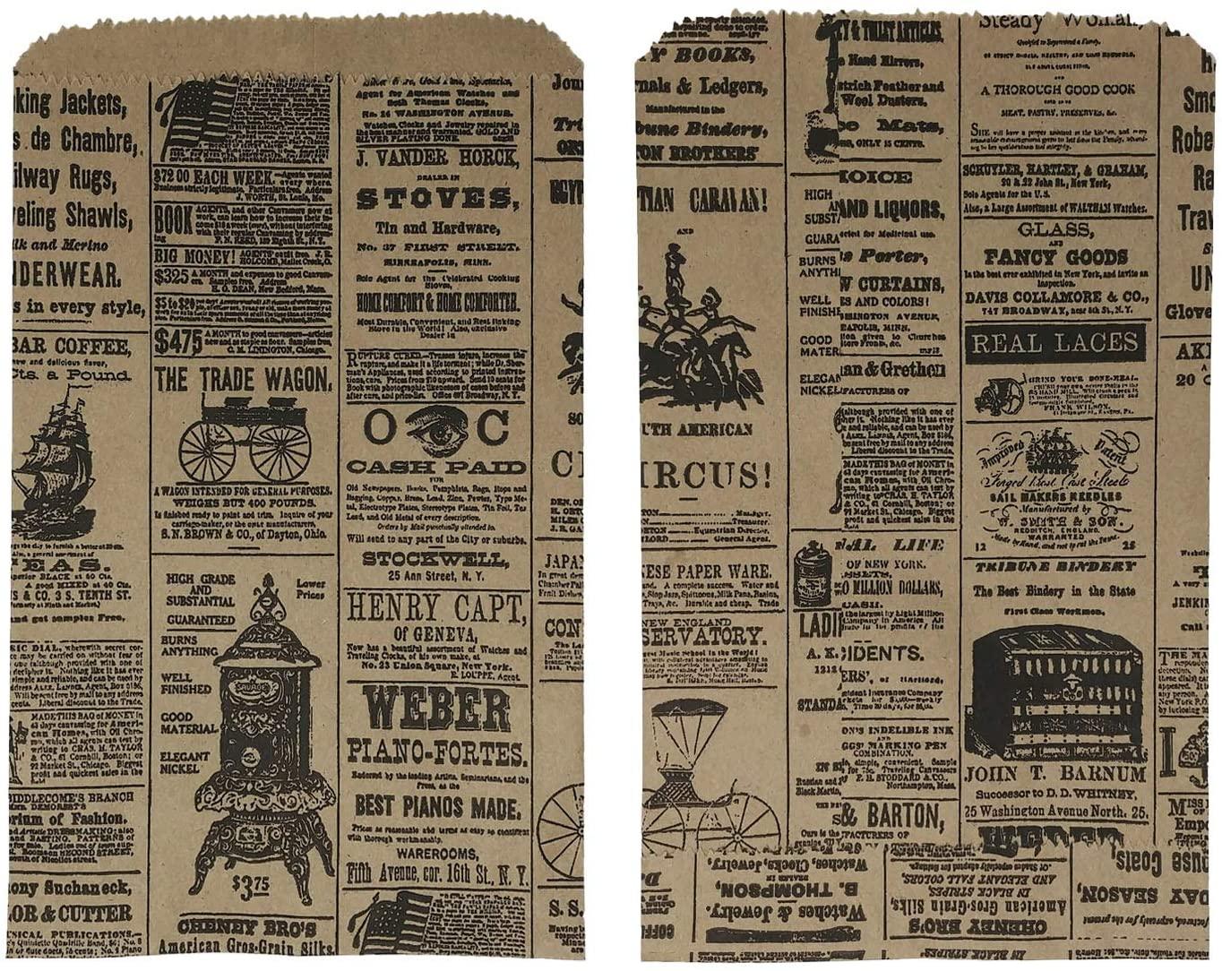 100 6x9 Newspaper Print Paper Kraft Bags,Vintage Style Newsprint Favor Craft Bags (Print ads Will Vary)