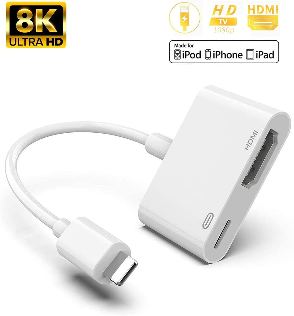 HDMI Adapter for TV Projector,1080P Digital AV Adapter HDMI Adapter Compatible with iPhone 11/XS/XR/X/8/7/6/5 Series/Pad Air/Mini/Pro,Sync Screen HDMI Connector with Charging Port (White)