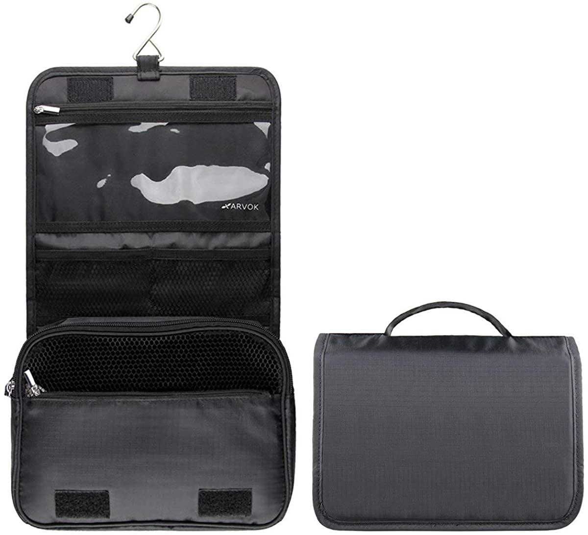 Arvok Hanging Toiletry Bag, water-resistant Travel Wash Bag Portable Makeup Cosmetic Organizer for Men & Women Folding with Multi Pockets