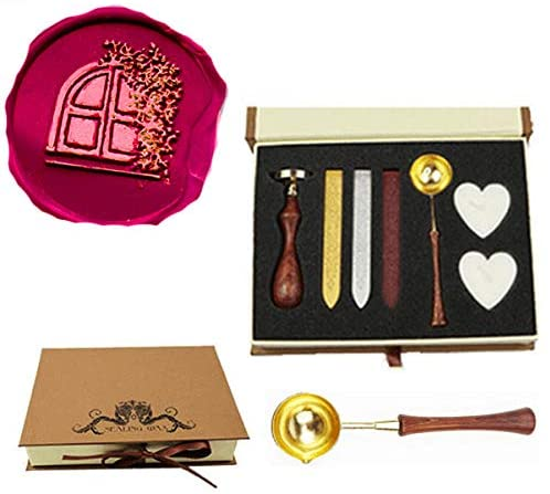 CTEB Fancy House Windows Plant Wax Seal Stamp Kit Wood Handle Melting Spoon Wax Sticks Candle Gift Box Set Decorating Gift Cards Weding Invitations Envelopes Letters Sealing Wax Seal Stamp Kit