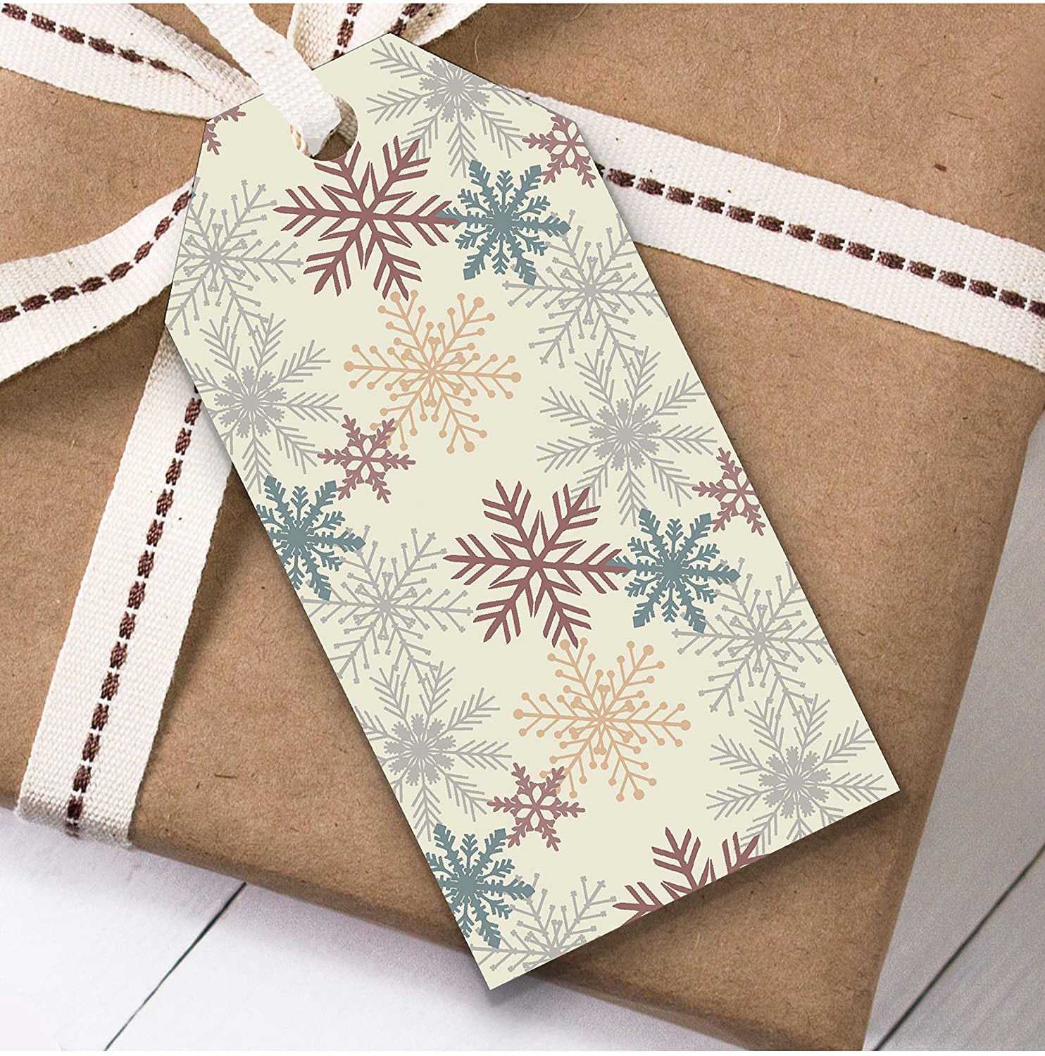 Cream Snowflakes Christmas Gift Tags (Present Favor Labels)