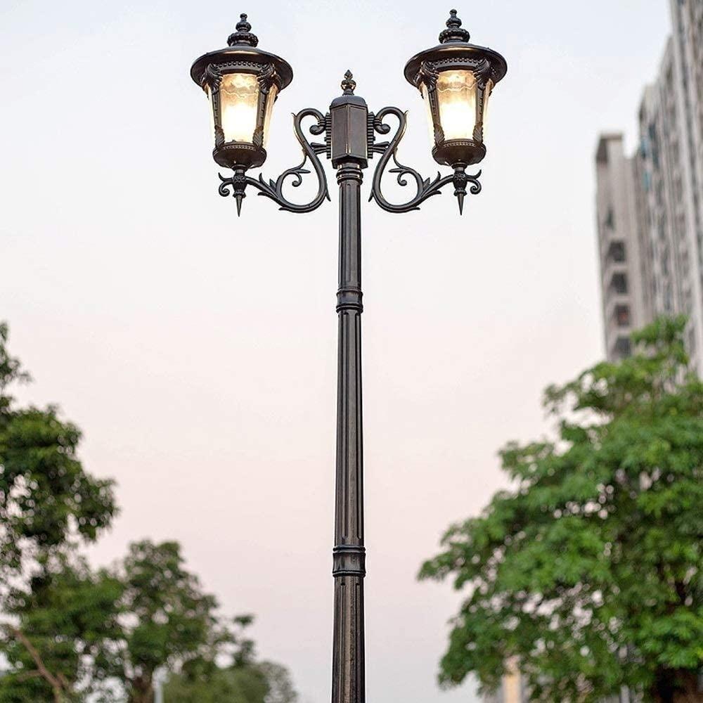 European Retro Street Light 2 Heads E27 High Pole Landscape Lantern IP55 Waterproof Antirust Aluminum Alloy Post Light Glass Lampshade Bright Garden Aisle Lighting Column Light (Size : Height 1.8M)