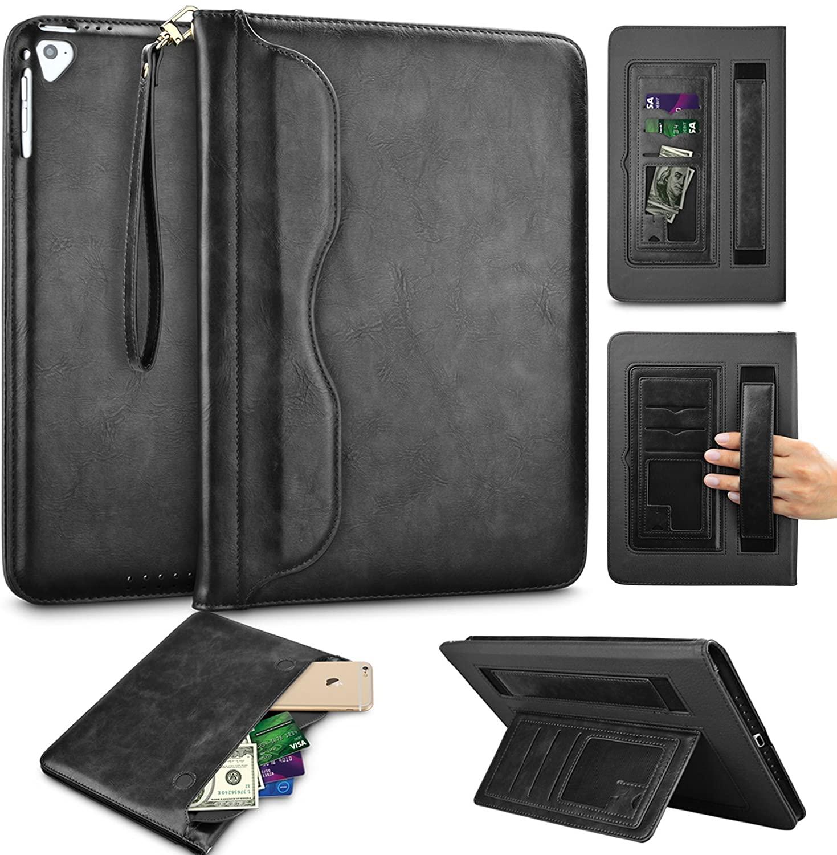 Tinysaturn iPad 9.7 Inch 2018/2017 / iPad Air 2 / iPad Air/iPad Pro Case, Premium PU Leather Business Slim Folding Stand Wallet Folio Cover Auto Wake/Sleep Front Document Pocket - Black