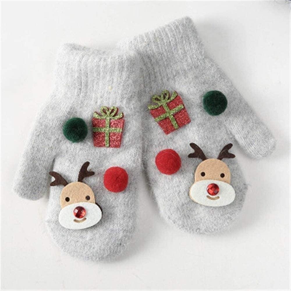 Slowoi Quick Winter Gloves Elk Gifts Plush Thicken Strong Children Kids Unisex Gloves Mittens (Color : 1, Gloves Size : S)