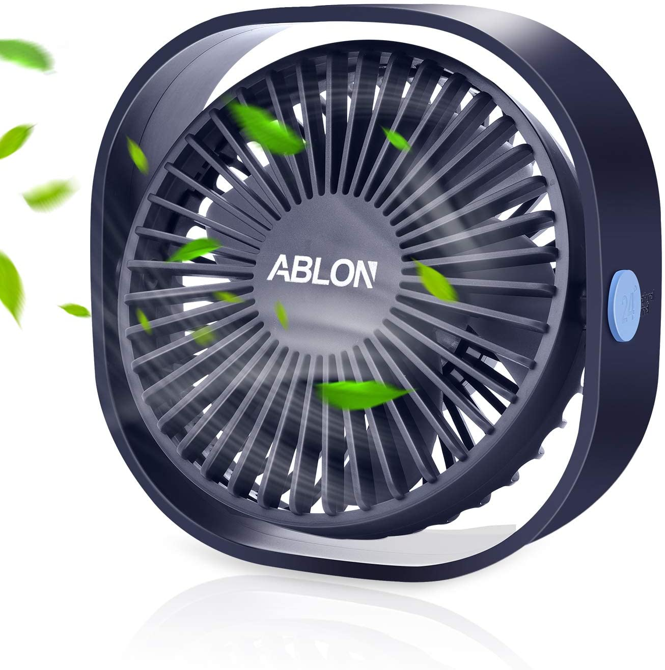 Ablon Desk Fan, Small Table Personal Portable Mini Fan Powered by USB, 3 Speed and Quiet Design for Desktop Office(Navy Blue)