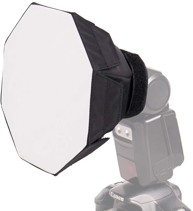 FOTOCREAT 7Inch( 18cm) Mini Octagon Flash Diffuser Light Softbox for Canon, Yongnuo and Nikon Speedlight