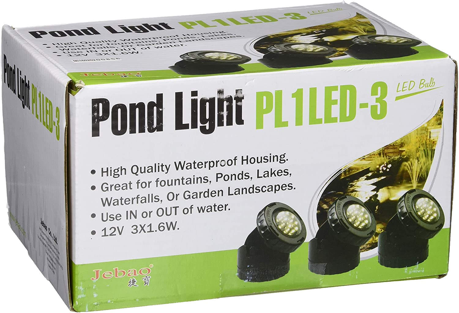 Jebao PL1LED-3PS Submersible LED Pond Light with Photcell Sensor, 2.25